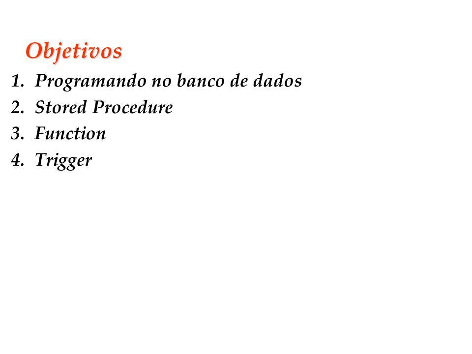 Slide 2 Objetivos 1.Programando no banco de dados 2.Stored Procedure 3.Function 4.Trigger