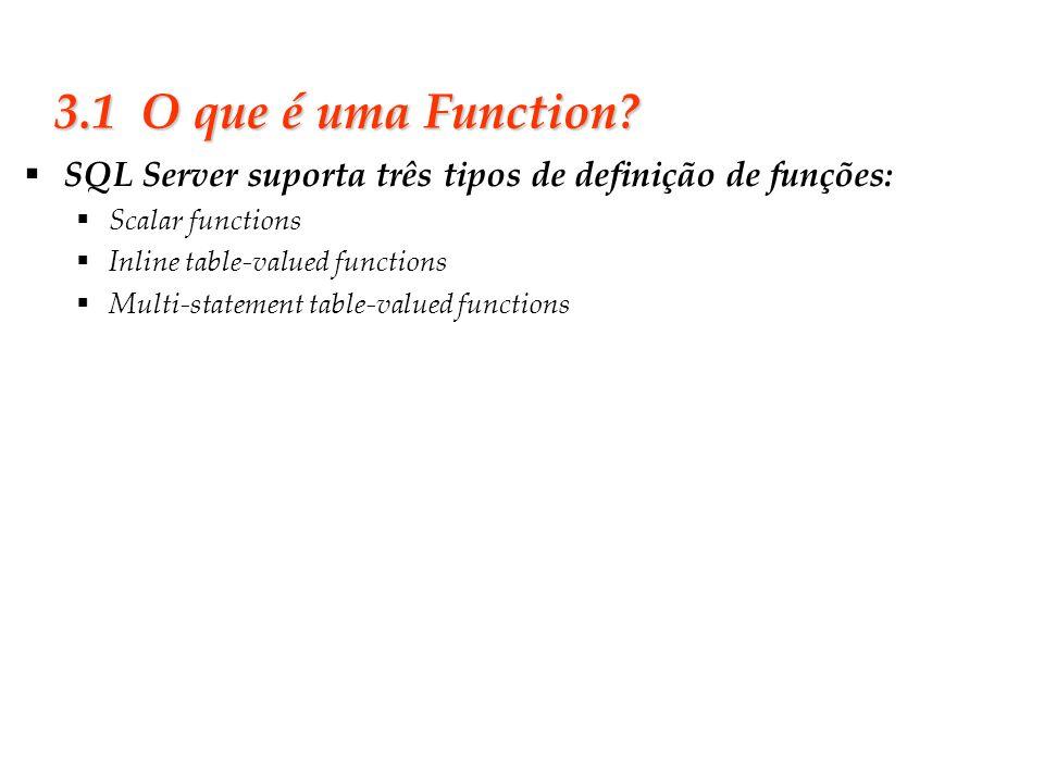 Slide 24 3.1 O que é uma Function? SQL Server suporta três tipos de definição de funções: Scalar functions Inline table-valued functions Multi-stateme