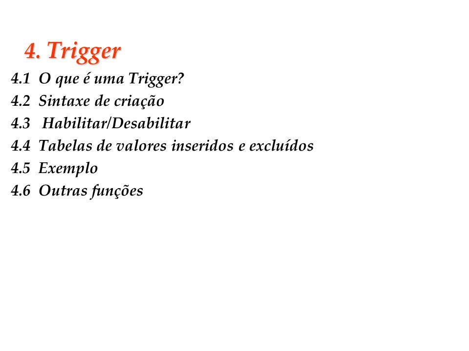 Slide 28 4. Trigger 4.1 O que é uma Trigger? 4.2 Sintaxe de criação 4.3 Habilitar/Desabilitar 4.4 Tabelas de valores inseridos e excluídos 4.5 Exemplo