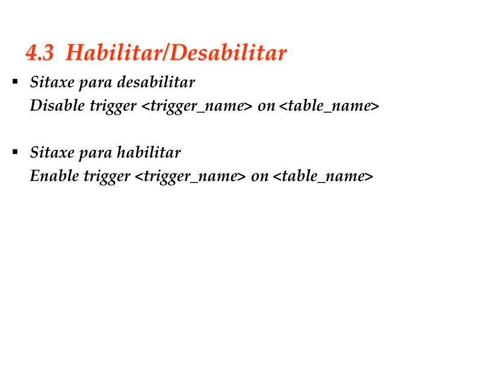 Slide 31 4.3 Habilitar/Desabilitar Sitaxe para desabilitar Disable trigger on Sitaxe para habilitar Enable trigger on