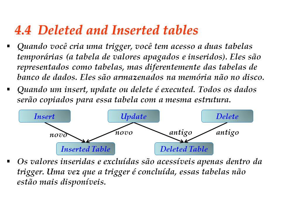 Slide 32 4.4 Deleted and Inserted tables Quando você cria uma trigger, você tem acesso a duas tabelas temporárias (a tabela de valores apagados e inse