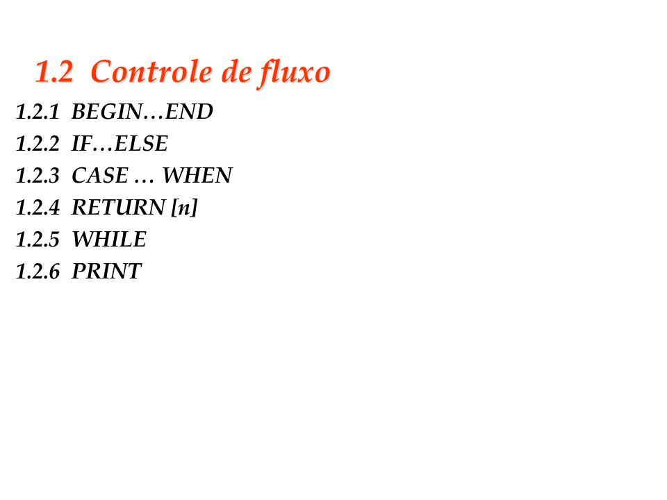 Slide 5 1.2 Controle de fluxo 1.2.1 BEGIN…END 1.2.2 IF…ELSE 1.2.3 CASE … WHEN 1.2.4 RETURN [n] 1.2.5 WHILE 1.2.6 PRINT