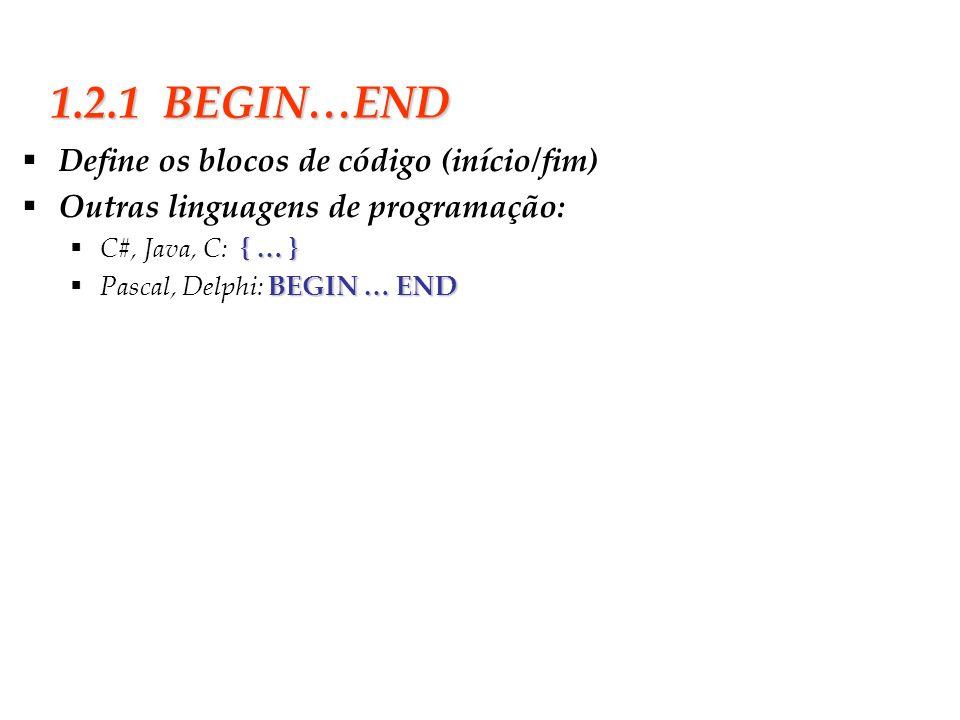 Slide 6 1.2.1 BEGIN…END Define os blocos de código (início/fim) Outras linguagens de programação: { … } C#, Java, C: { … } BEGIN … END Pascal, Delphi: