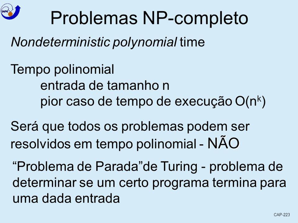 CAP-223 Problemas NP-completo Nondeterministic polynomial time Tempo polinomial entrada de tamanho n pior caso de tempo de execução O(n k ) Será que t