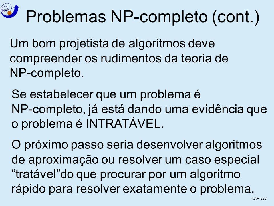 CAP-223 Problemas NP-completo (cont.) Um bom projetista de algoritmos deve compreender os rudimentos da teoria de NP-completo. Se estabelecer que um p
