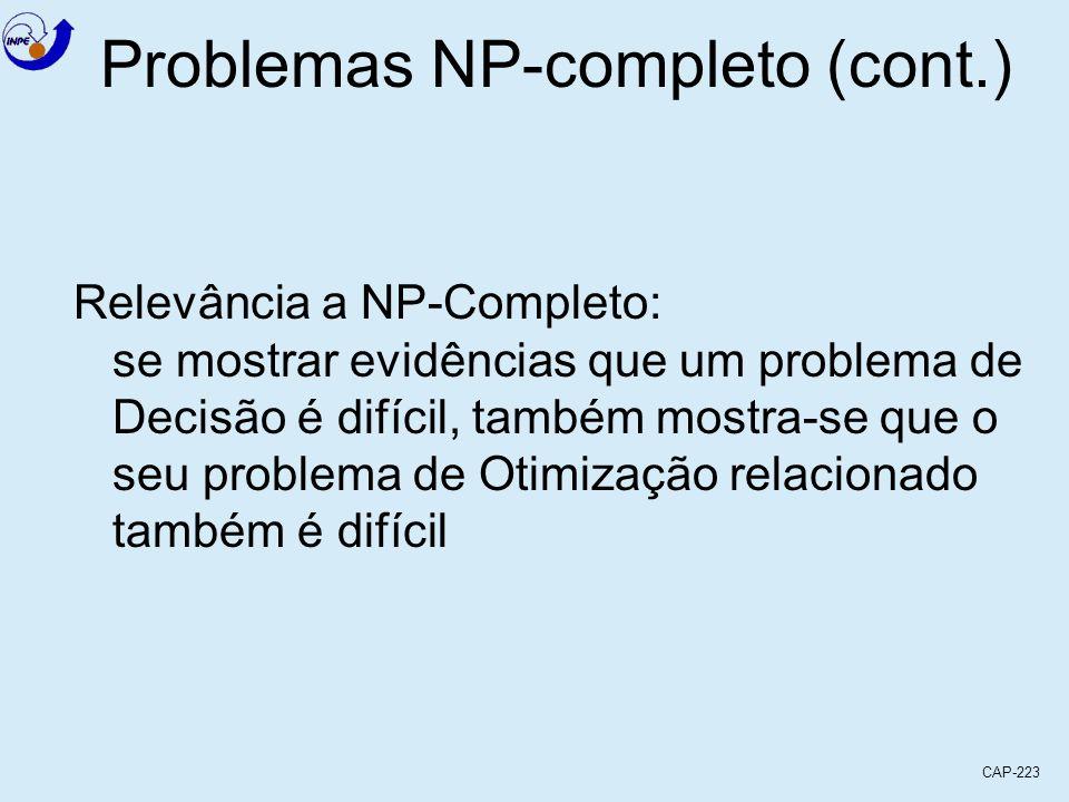 CAP-223 Problemas NP-completo (cont.) Relevância a NP-Completo: se mostrar evidências que um problema de Decisão é difícil, também mostra-se que o seu