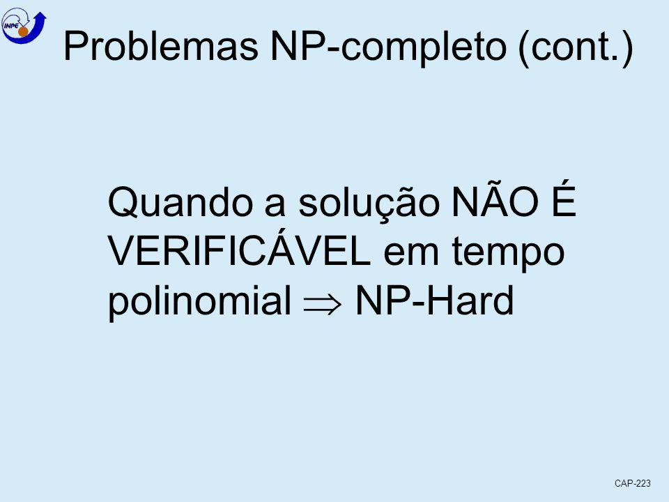 CAP-223 Quando a solução NÃO É VERIFICÁVEL em tempo polinomial NP-Hard Problemas NP-completo (cont.)