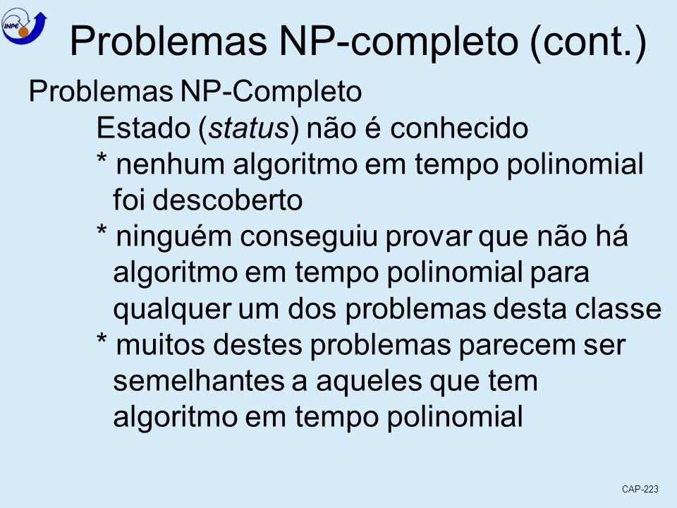 CAP-223 Problemas NP-completo (cont.) Problemas NP-Completo Estado (status) não é conhecido * nenhum algoritmo em tempo polinomial foi descoberto * ni