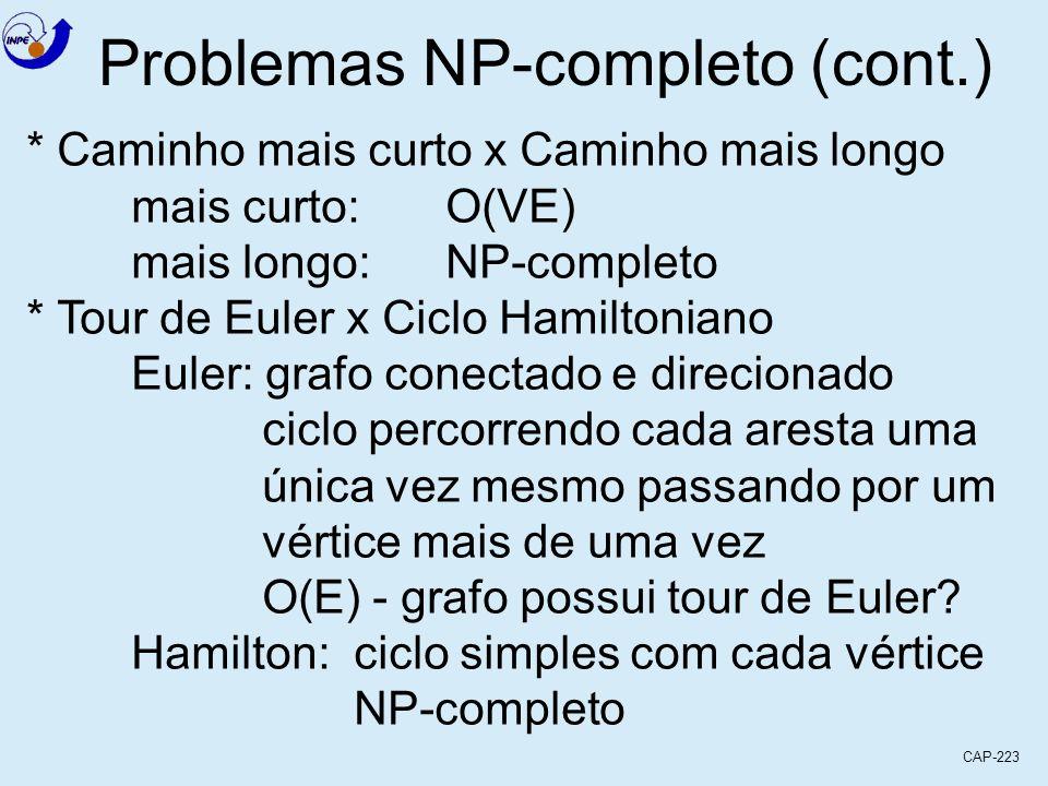 CAP-223 Problemas NP-completo (cont.) * Caminho mais curto x Caminho mais longo mais curto:O(VE) mais longo:NP-completo * Tour de Euler x Ciclo Hamilt