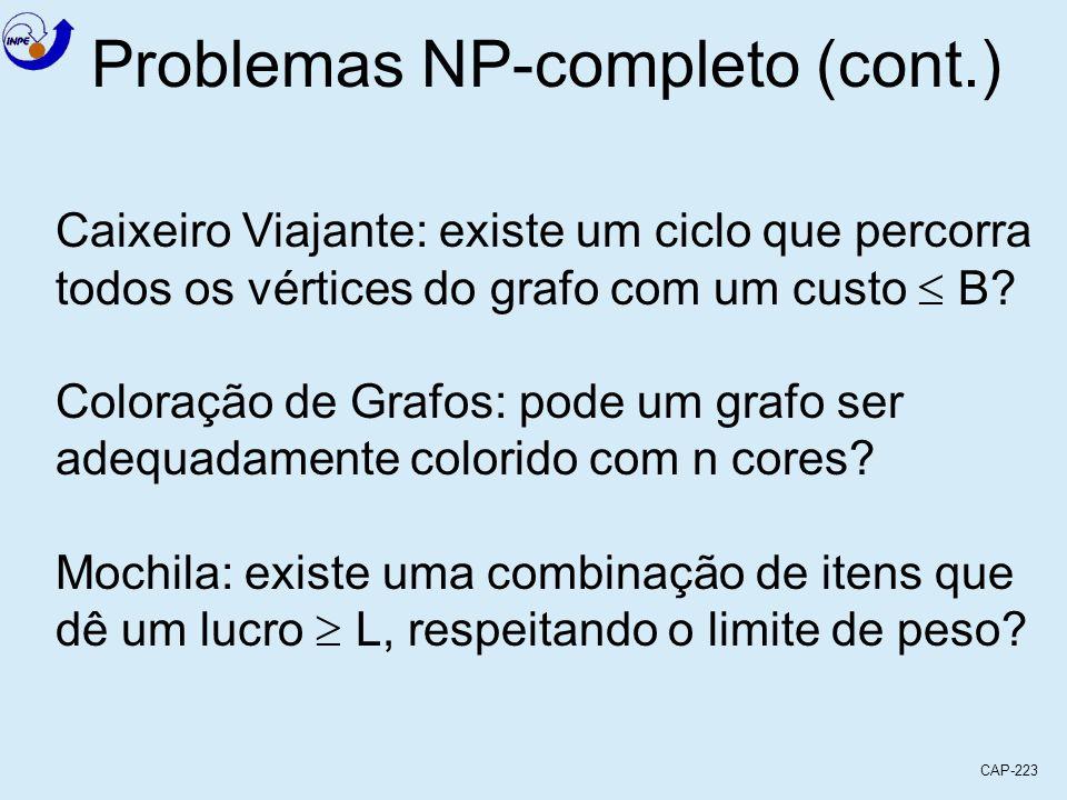 CAP-223 Problemas NP-completo (cont.) Caixeiro Viajante: existe um ciclo que percorra todos os vértices do grafo com um custo B? Coloração de Grafos: