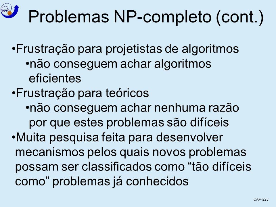 CAP-223 Problemas NP-completo (cont.) Frustração para projetistas de algoritmos não conseguem achar algoritmos eficientes Frustração para teóricos não