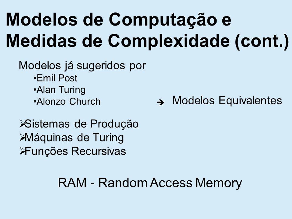 Modelos de Computação e Medidas de Complexidade (cont.) Modelos já sugeridos por Emil Post Alan Turing Alonzo Church Sistemas de Produção Máquinas de Turing Funções Recursivas Modelos Equivalentes RAM - Random Access Memory