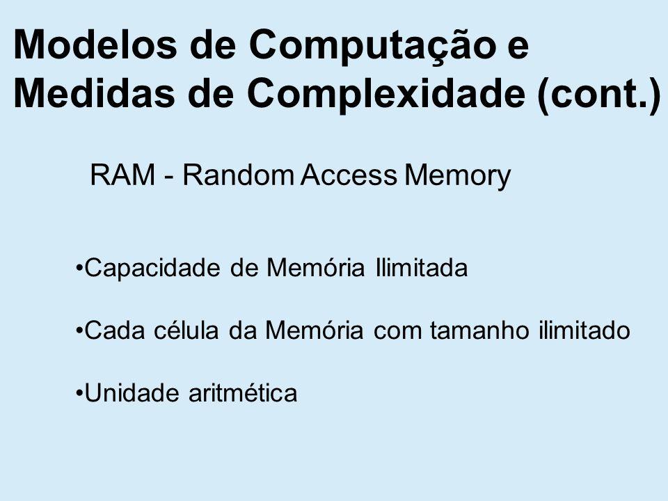 Modelos de Computação e Medidas de Complexidade (cont.) RAM - Random Access Memory Capacidade de Memória Ilimitada Cada célula da Memória com tamanho ilimitado Unidade aritmética