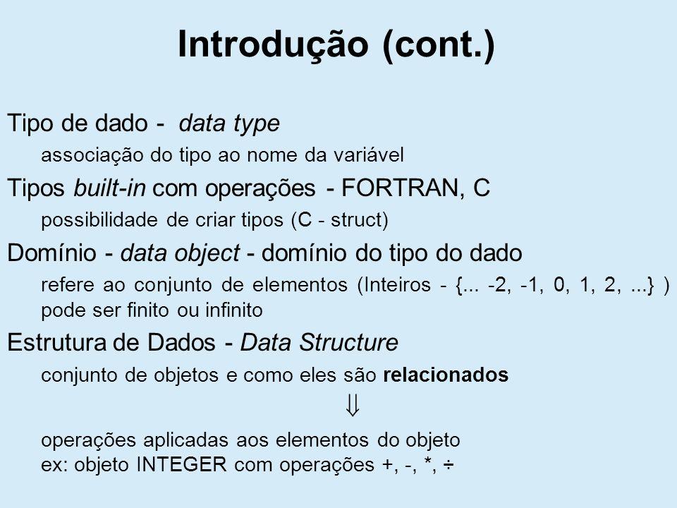 Introdução (cont.) Tipo de dado - data type associação do tipo ao nome da variável Tipos built-in com operações - FORTRAN, C possibilidade de criar tipos (C - struct) Domínio - data object - domínio do tipo do dado refere ao conjunto de elementos (Inteiros - {...