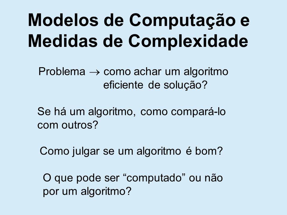 Modelos de Computação e Medidas de Complexidade Problema como achar um algoritmo eficiente de solução.