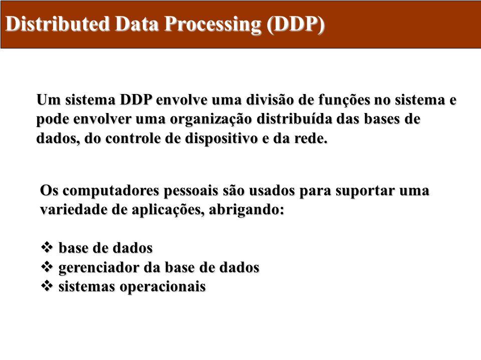 DDP - Capacidades Arquitetura de comunicações Arquitetura de comunicações Sistema operacional de rede Sistema operacional de rede Sistema operacional distribuído Sistema operacional distribuído O desenvolvimento do sistema operacional distribuído deu-se pela evolução de suas capacidades: