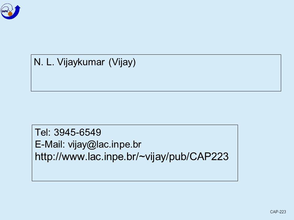 CAP-223 N. L. Vijaykumar (Vijay) Tel: 3945-6549 E-Mail: vijay@lac.inpe.br http://www.lac.inpe.br/~vijay/pub/CAP223