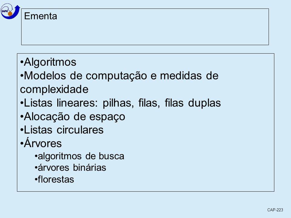 CAP-223 Ementa Algoritmos Modelos de computação e medidas de complexidade Listas lineares: pilhas, filas, filas duplas Alocação de espaço Listas circu