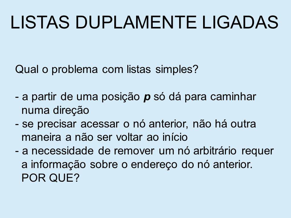 LISTAS DUPLAMENTE LIGADAS Qual o problema com listas simples.