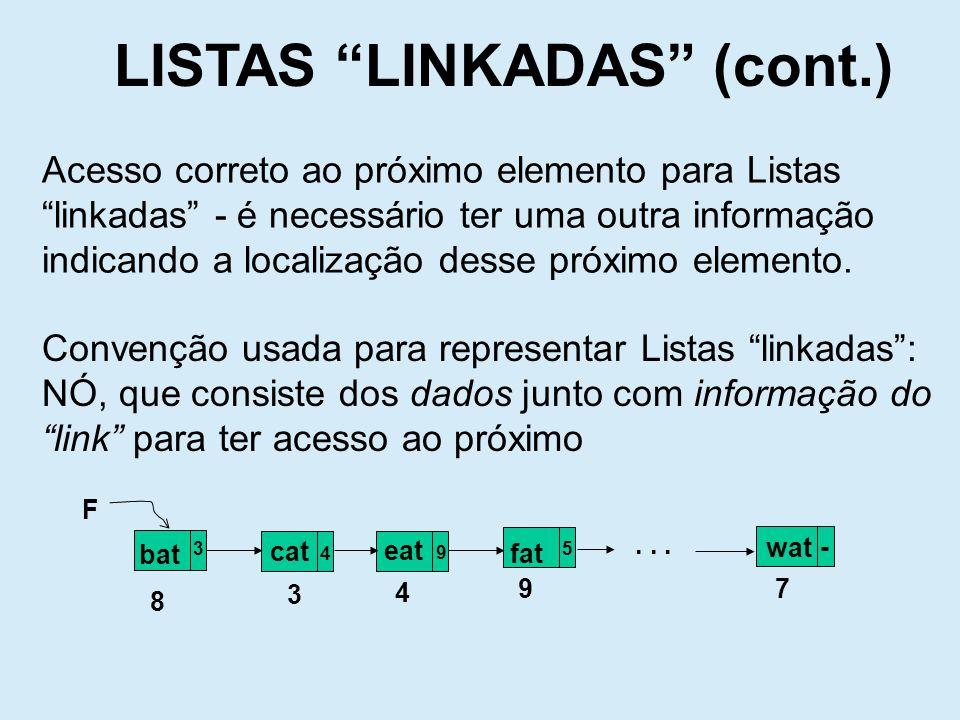 LISTAS LINKADAS (cont.) Capacidade de dividir a informação em Dado e Link Nó Mecanismo para criar um novo Nó Mecanismo para devolver um Nó para memória A L O C A Ç Ã O D I N Â M I C A