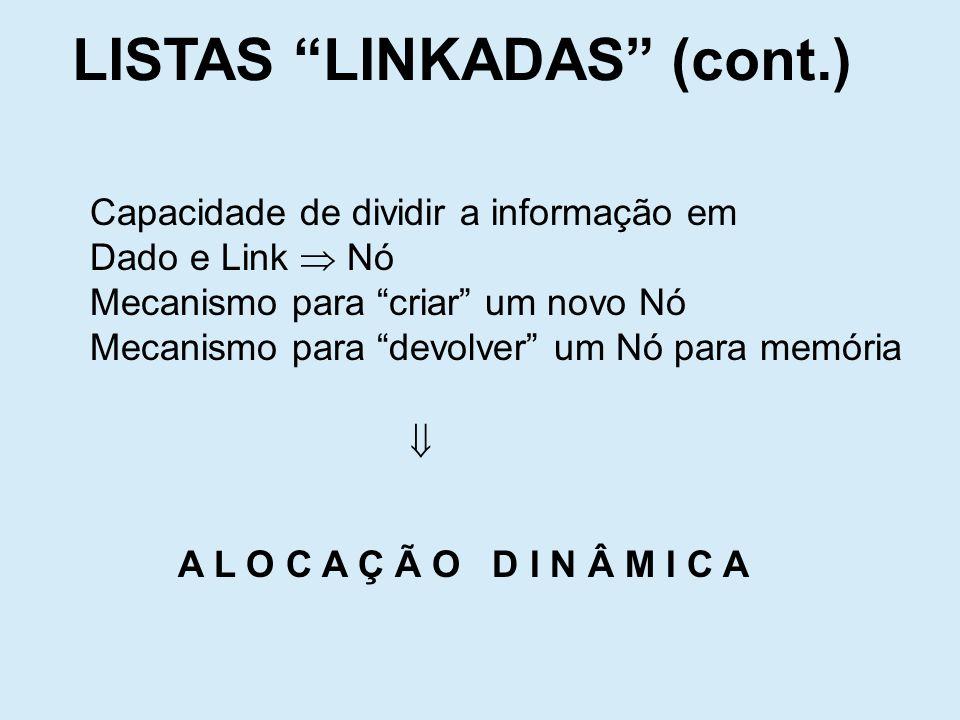 Supõe-se que um mecanismo de criar um tipo Nó com duas partes: Dado e Link; Também supõe-se que duas funções new e delete criar respectivamente para criar um novo Nó devolver e para devolver um Nó LISTAS LINKADAS (cont.) Dado Link Nó