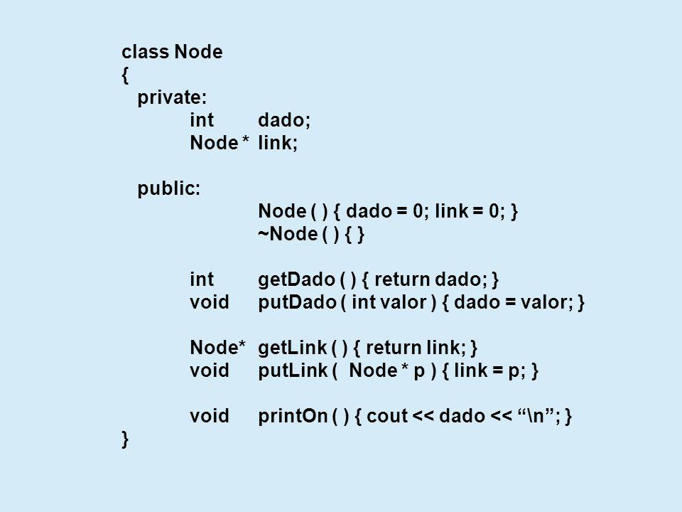 class List { private: Node*first, *last; public: List ( ) { } ~List ( ) { } voidinsert ( int elemento ) { Node * p = new Node; p->putDado ( elemento ); if ( first == 0 ) first = last = p; else { last->putLink ( p ); last = p; } voidprinton ( ); } void printOn ( ) { Node * p = first; while ( p != 0 ) { cout printOn(); p = p->getLink( ); } void main ( ) { List l1; l1.insert ( 100 ); l1.insert ( 1 ); l1.insert ( 10 ); l1.insert ( 50 ); l1.printOn ( ); }