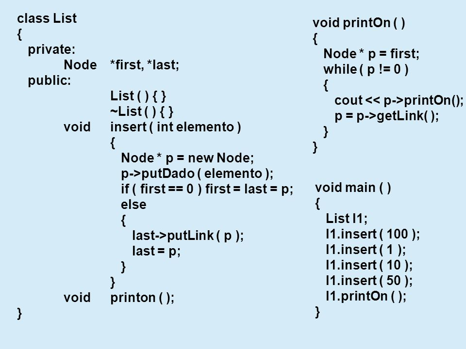 class List { private: Node*first, *last; public: List ( ) { } ~List ( ) { } voidinsert ( int elemento ) { Node * p = new Node; p->putDado ( elemento )
