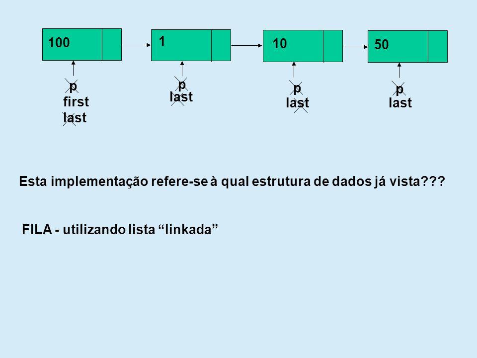 p 100 first last p 1 p 10 last p 50 last Esta implementação refere-se à qual estrutura de dados já vista??? FILA - utilizando lista linkada