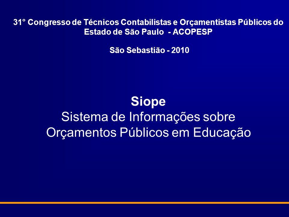 31° Congresso de Técnicos Contabilistas e Orçamentistas Públicos do Estado de São Paulo - ACOPESP São Sebastião - 2010 Siope Sistema de Informações sobre Orçamentos Públicos em Educação