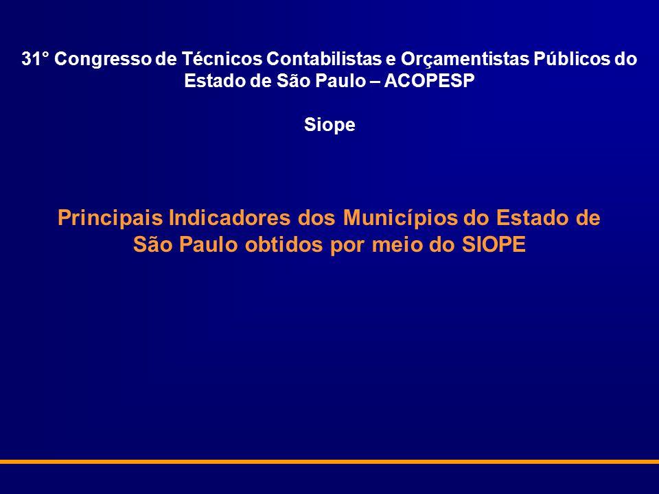 Principais Indicadores dos Municípios do Estado de São Paulo obtidos por meio do SIOPE 31° Congresso de Técnicos Contabilistas e Orçamentistas Públicos do Estado de São Paulo – ACOPESP Siope