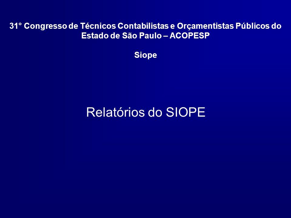 Relatórios do SIOPE 31° Congresso de Técnicos Contabilistas e Orçamentistas Públicos do Estado de São Paulo – ACOPESP Siope