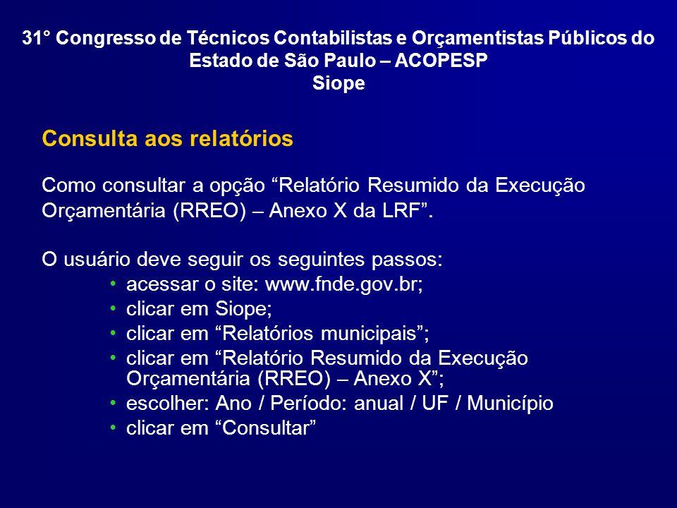 Consulta aos relatórios Como consultar a opção Relatório Resumido da Execução Orçamentária (RREO) – Anexo X da LRF.