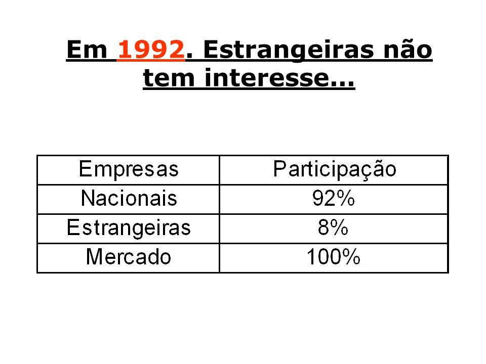 Em 1992. Estrangeiras não tem interesse...
