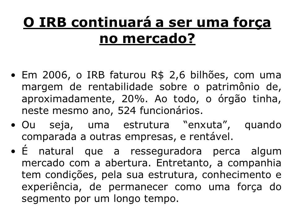O IRB continuará a ser uma força no mercado? Em 2006, o IRB faturou R$ 2,6 bilhões, com uma margem de rentabilidade sobre o patrimônio de, aproximadam
