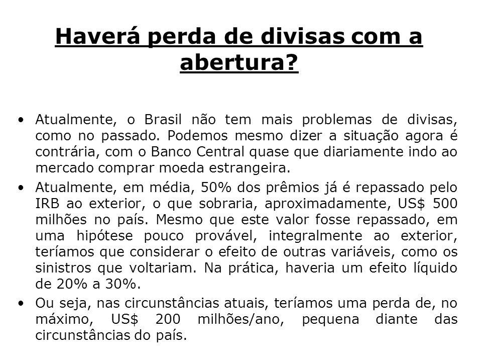 Haverá perda de divisas com a abertura? Atualmente, o Brasil não tem mais problemas de divisas, como no passado. Podemos mesmo dizer a situação agora