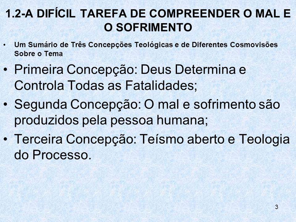 3 1.2-A DIFÍCIL TAREFA DE COMPREENDER O MAL E O SOFRIMENTO Um Sumário de Três Concepções Teológicas e de Diferentes Cosmovisões Sobre o Tema Primeira