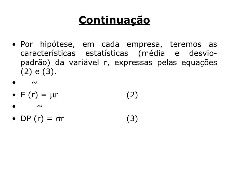 Continuação Por hipótese, em cada empresa, teremos as características estatísticas (média e desvio- padrão) da variável r, expressas pelas equações (2) e (3).