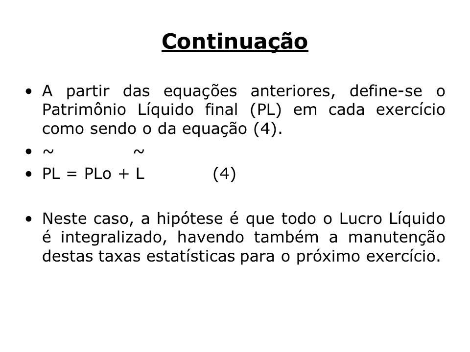 Continuação A partir das equações anteriores, define-se o Patrimônio Líquido final (PL) em cada exercício como sendo o da equação (4).