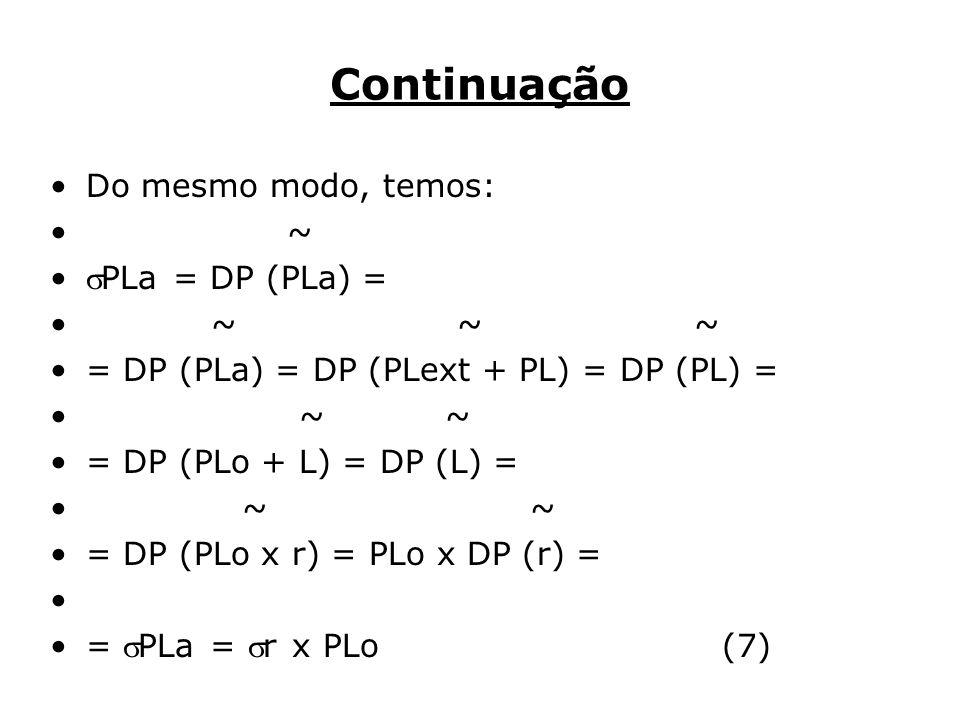 Continuação Do mesmo modo, temos: ~ PLa = DP (PLa) = ~ ~ ~ = DP (PLa) = DP (PLext + PL) = DP (PL) = ~ ~ = DP (PLo + L) = DP (L) = ~ = DP (PLo x r) = PLo x DP (r) = = PLa = r x PLo (7)