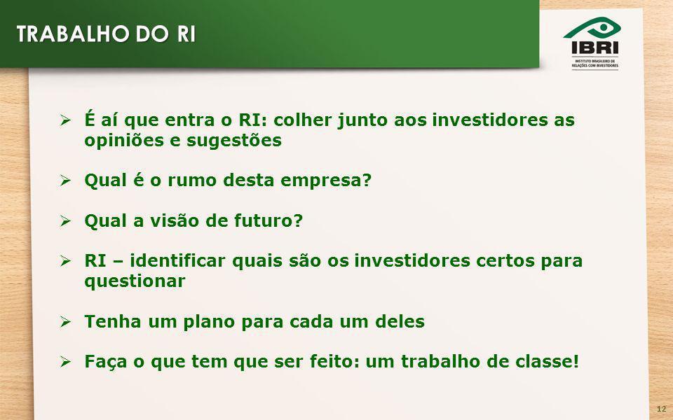 12 É aí que entra o RI: colher junto aos investidores as opiniões e sugestões Qual é o rumo desta empresa.