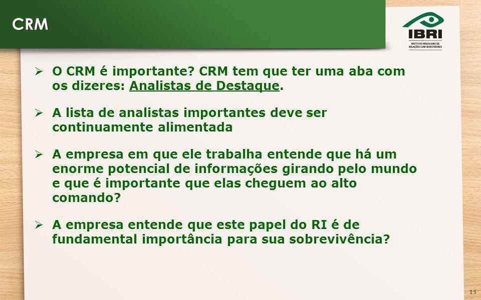 13 O CRM é importante. CRM tem que ter uma aba com os dizeres: Analistas de Destaque.
