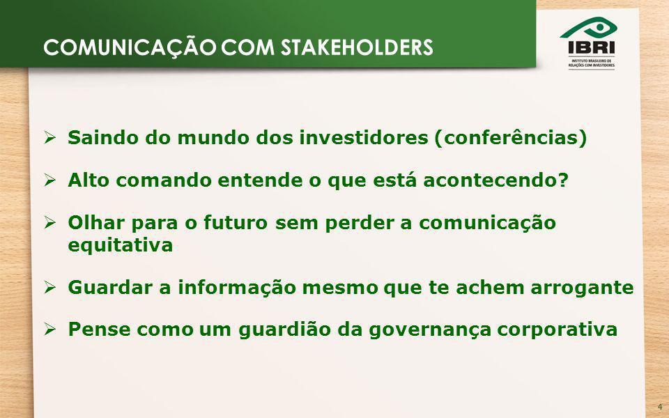 4 Saindo do mundo dos investidores (conferências) Alto comando entende o que está acontecendo.