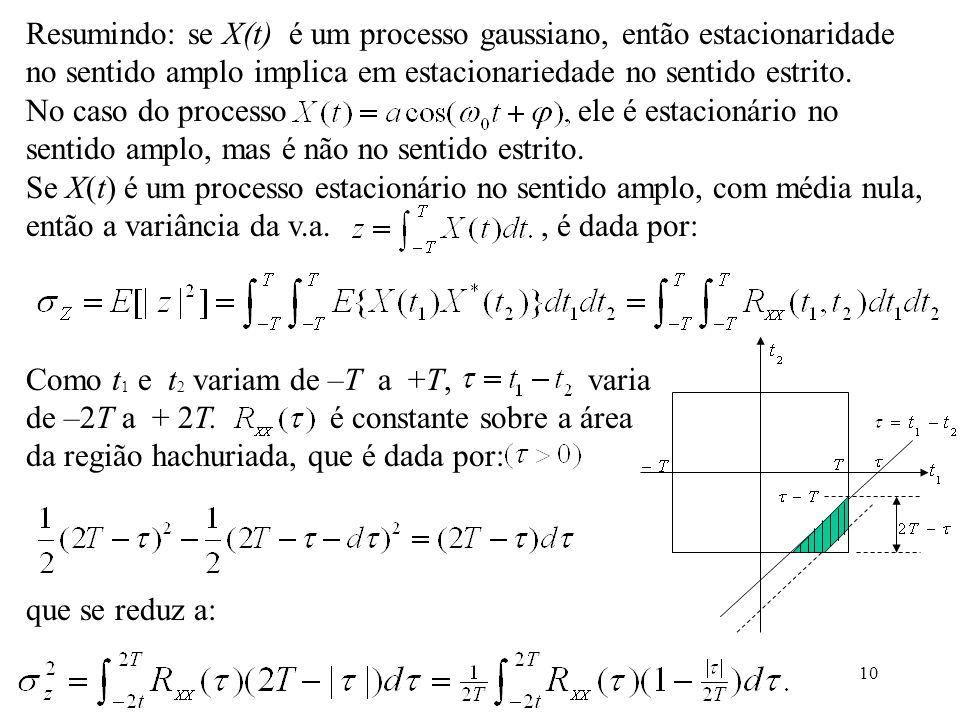 10 Resumindo: se X(t) é um processo gaussiano, então estacionaridade no sentido amplo implica em estacionariedade no sentido estrito.