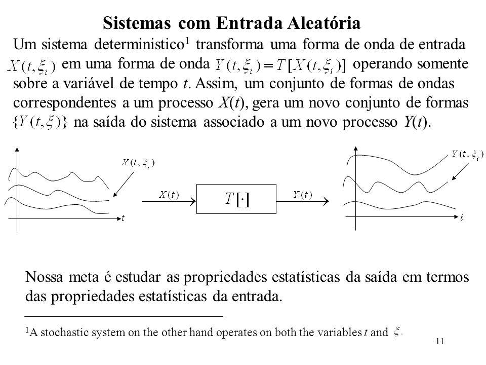 11 Sistemas com Entrada Aleatória Um sistema deterministico 1 transforma uma forma de onda de entrada em uma forma de onda operando somente sobre a variável de tempo t.