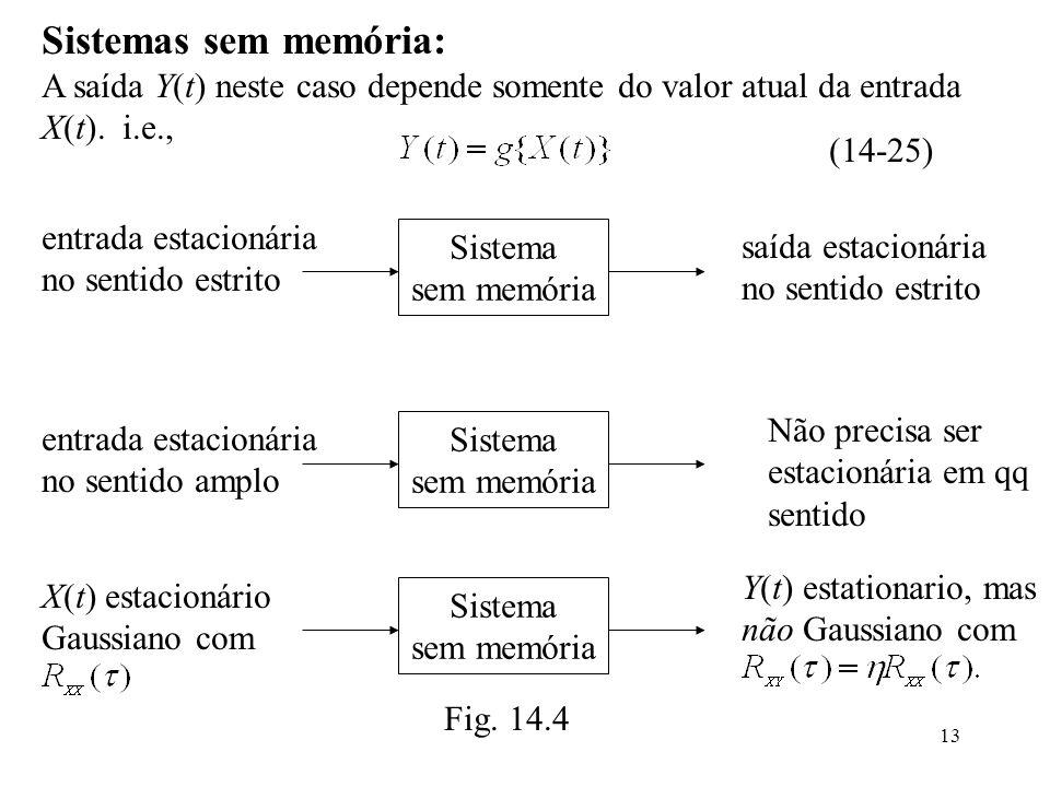 13 Sistemas sem memória: A saída Y(t) neste caso depende somente do valor atual da entrada X(t).