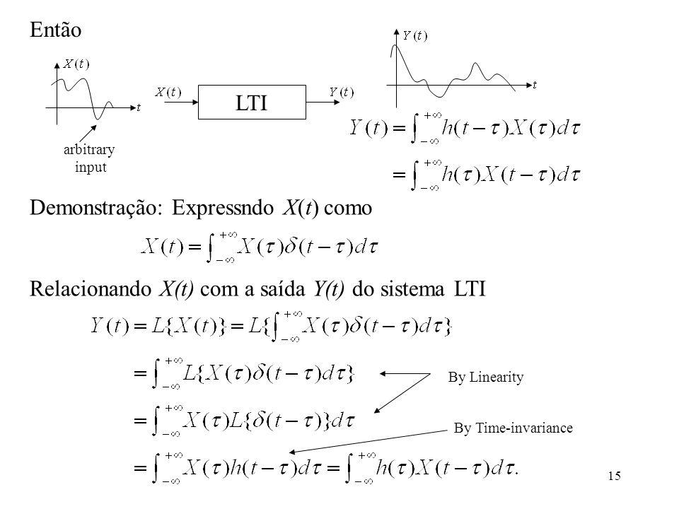 15 Demonstração: Expressndo X(t) como Relacionando X(t) com a saída Y(t) do sistema LTI By Linearity By Time-invariance Então LTI arbitrary input