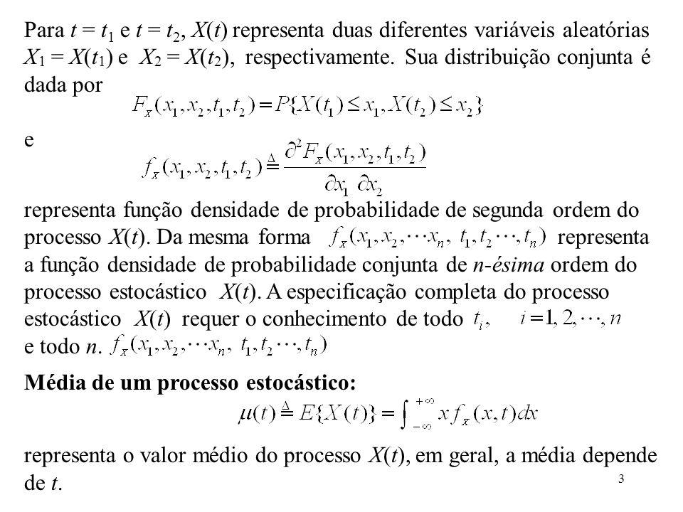 3 Para t = t 1 e t = t 2, X(t) representa duas diferentes variáveis aleatórias X 1 = X(t 1 ) e X 2 = X(t 2 ), respectivamente.