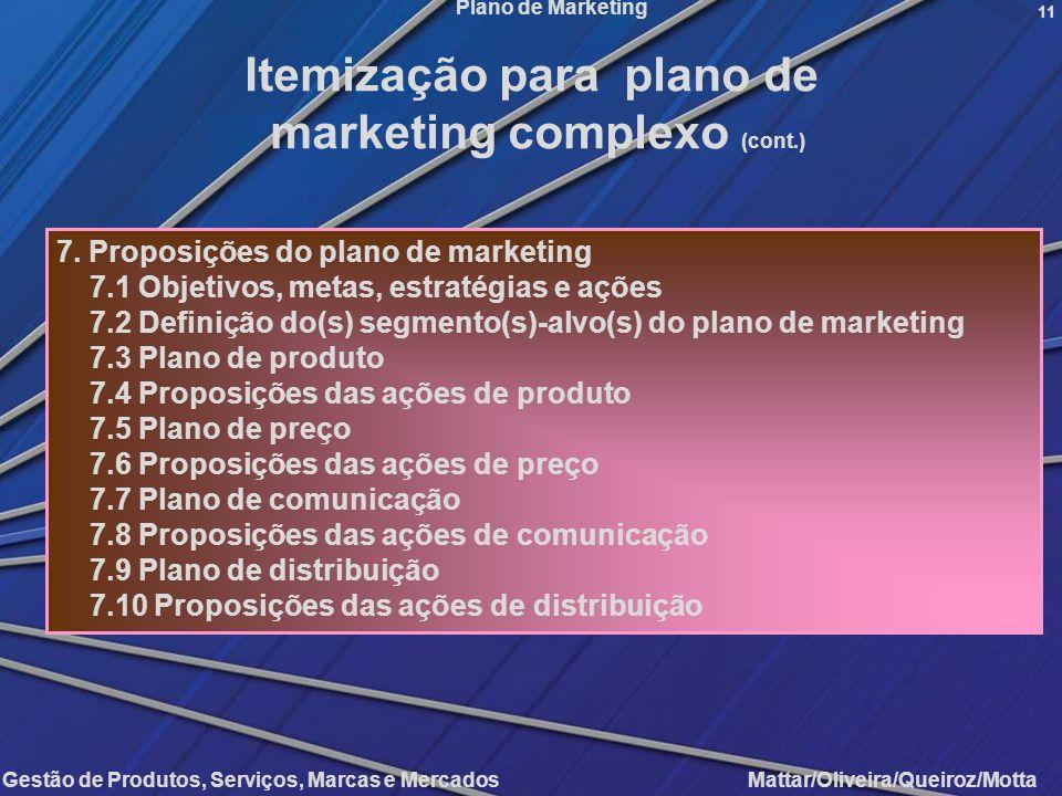 Gestão de Produtos, Serviços, Marcas e Mercados Mattar/Oliveira/Queiroz/Motta Plano de Marketing 11 7. Proposições do plano de marketing 7.1 Objetivos