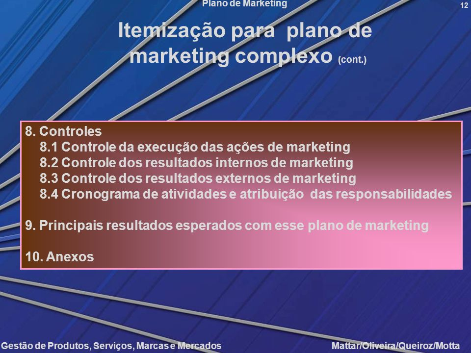 Gestão de Produtos, Serviços, Marcas e Mercados Mattar/Oliveira/Queiroz/Motta Plano de Marketing 12 8. Controles 8.1 Controle da execução das ações de
