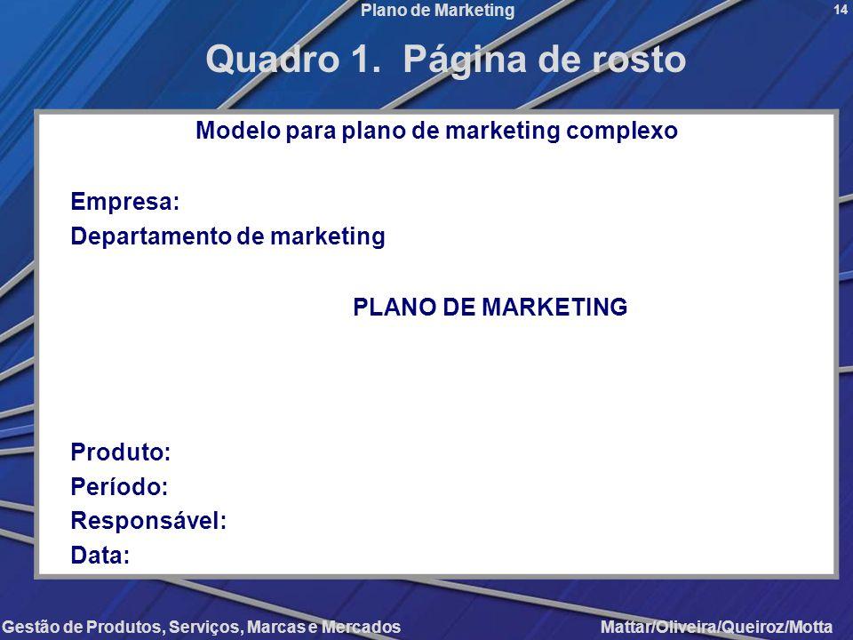 Gestão de Produtos, Serviços, Marcas e Mercados Mattar/Oliveira/Queiroz/Motta Plano de Marketing Modelo para plano de marketing complexo Empresa: Depa